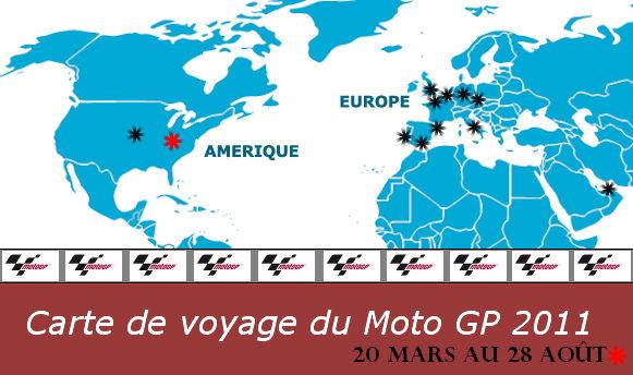 carte de voyage du moto GP 2011