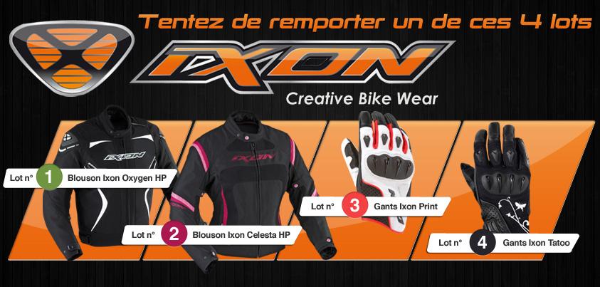 Jeu concours Motoblouz Ixon : Quatre lots en jeu !