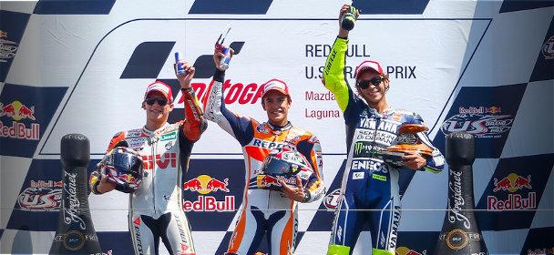 Podium de la course MotoGP de Laguna Seca 2013 : Bradl, Marquez et Rossi