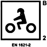 Etiquette d'homologation d'une dorsale moto EN 1621-2