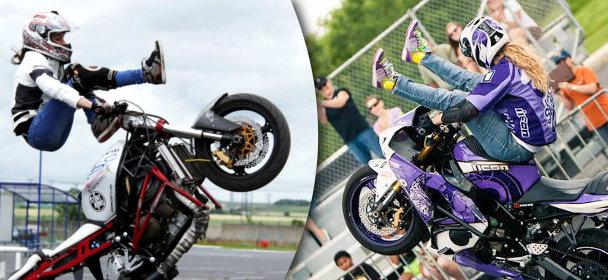 Sarah Lezito et Leah Petersen, deux femmes en stunt moto
