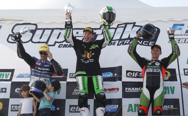 Axel Maurin sur la 3ème place du podium FSBK 2013
