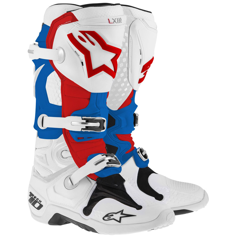 Bottes cross Alpinestars Tech 10 bleu blanc rouge