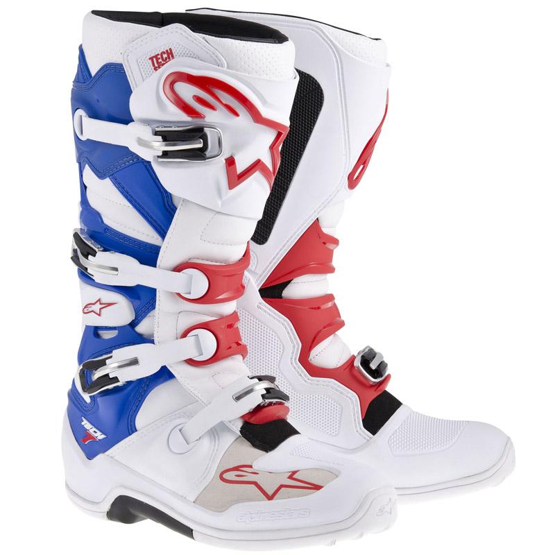 Bottes cross Alpinestars Tech 7 bleu blanc rouge