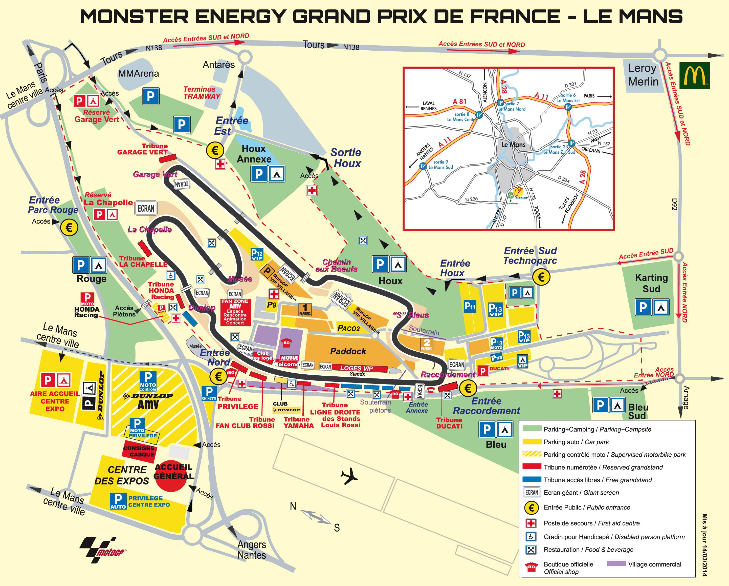 Plan des installations au Grand Prix de France 2014