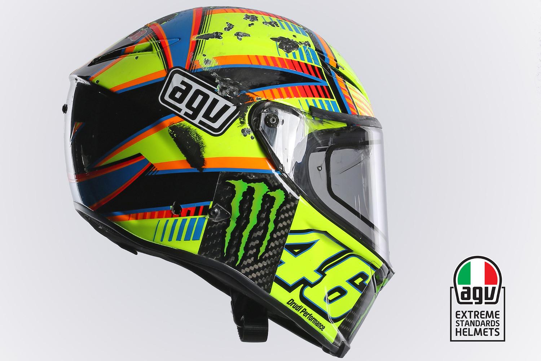 Le casque AGV Pista GP de Valentino Rossi suite à sa chute à Aragon