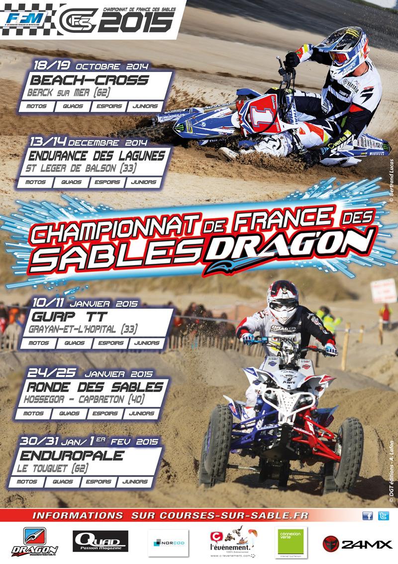 Le calendrier de la saison motocross des sables 2014 – 2015