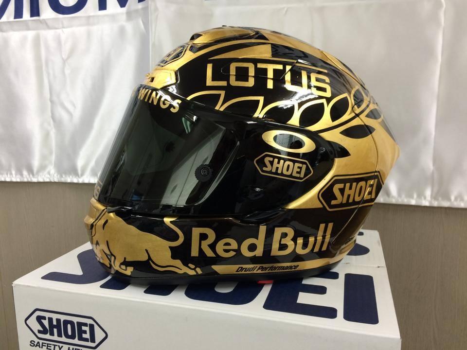 Le Shoei X-Spirit II de Marquez sépcial Champion du monde MotoGP, doré et noir