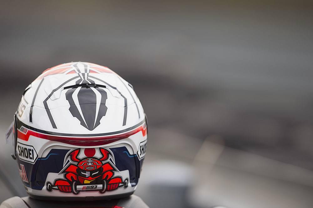 Vue arrière du casque Marquez Motegi 2014