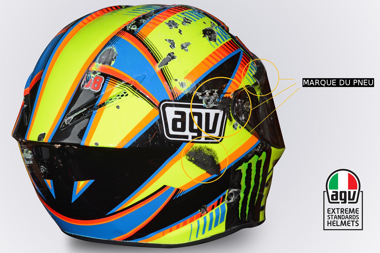Marques dues au contact avec la moto de Rossi