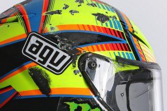 Casque de Valentino Rossi après sa chute à Aragon