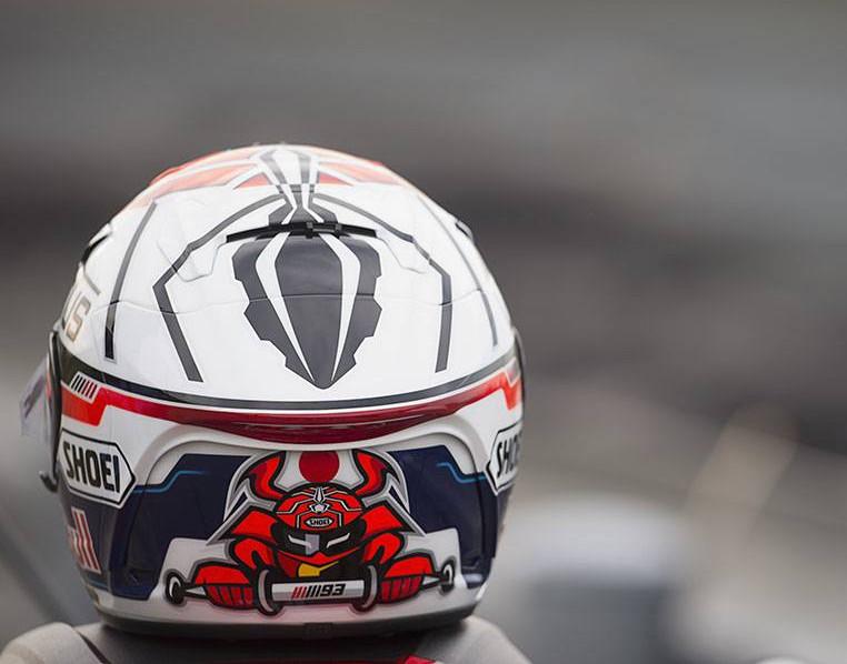 Déco spéciale Motegi pour le casque de Marc Marquez