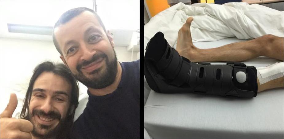 Passage par la case hôpital pour Fabien, ici avec le Dr Madi qui l'a opéré