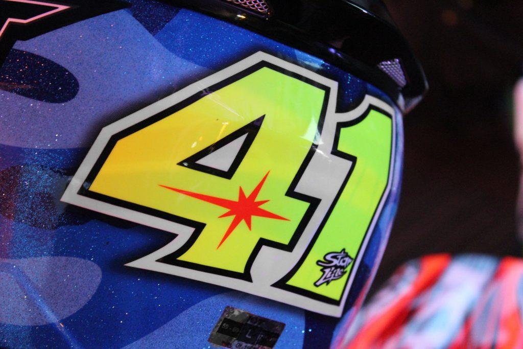 Le 41, numéro du pilote MotoGP espagnol Suzuki