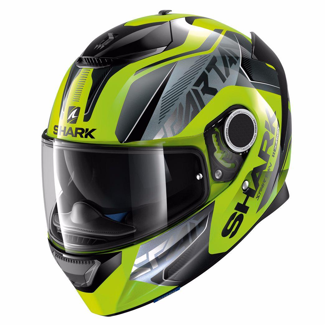Un casque moto fluo
