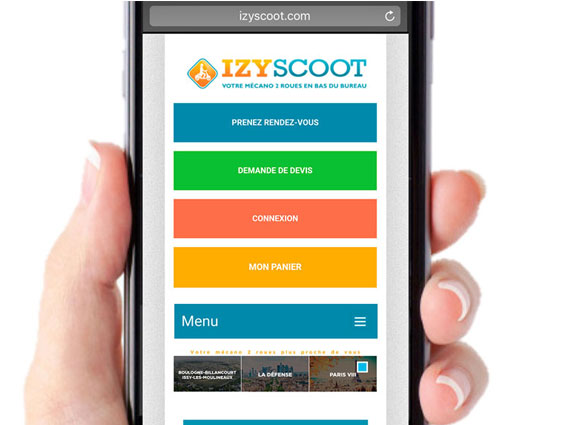 Site IZYSCOOT smartphone