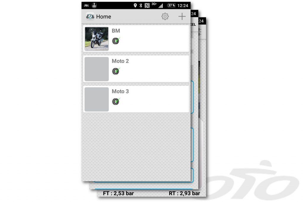 Le menu par lequel vous accédez aux différents profils de moto configurés sur votre appli