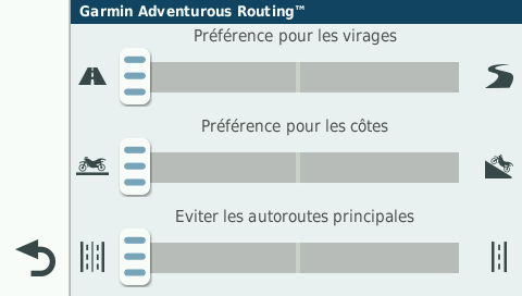 Copie écran Menu Garmin Adventurous Routing 4