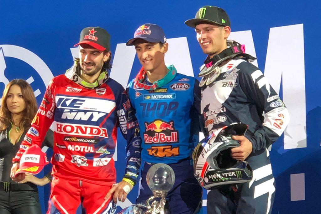 Fabien Izoird, Marvin musquin et Cédric Soubeyras au Supercross de Paris 2017