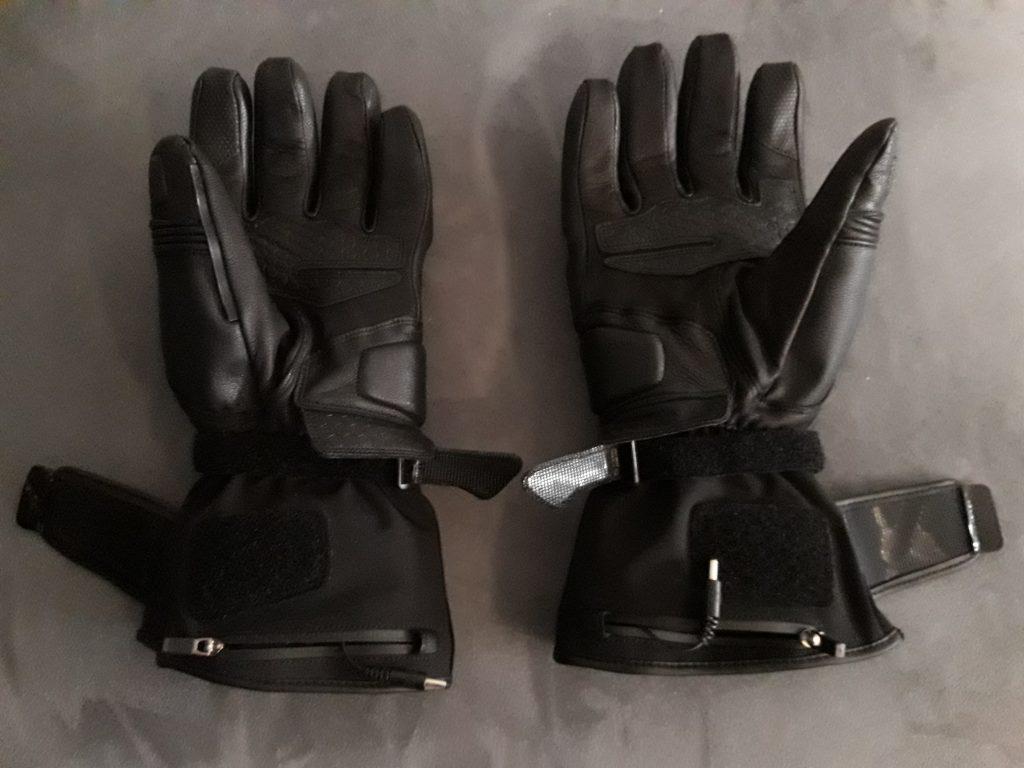 Aperçu des câbles de raccordement, et plus généralement du côté paume des gants chauffants DXR Heatwaves