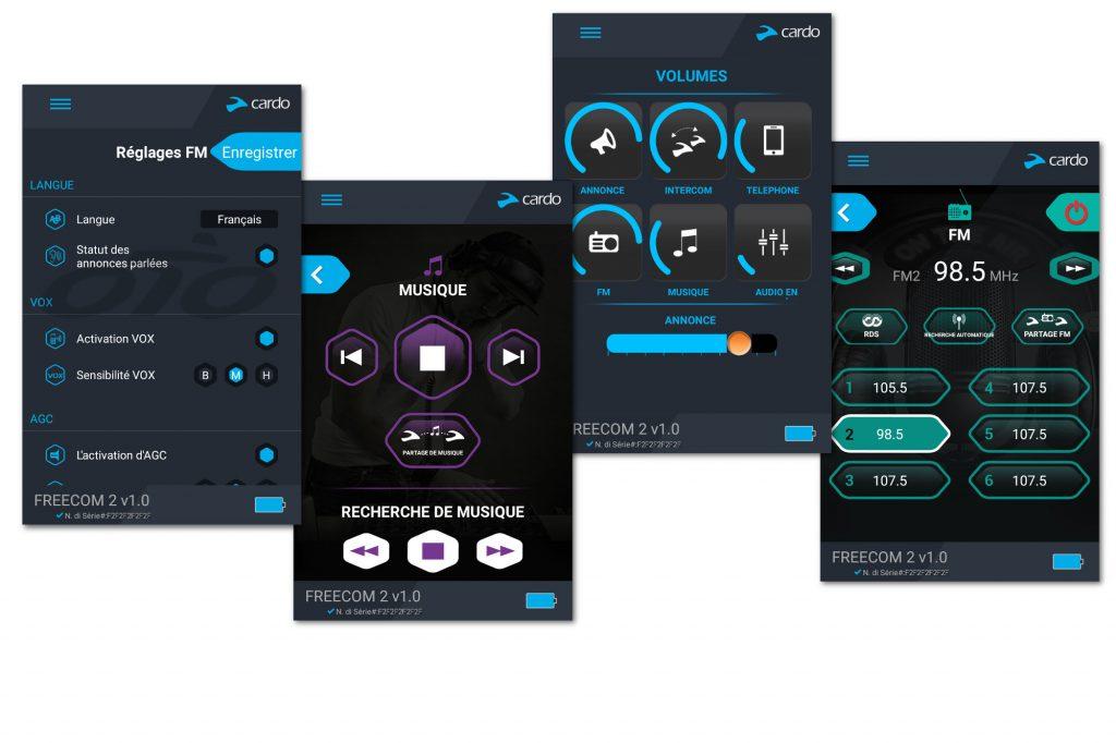 Quelques captures de l'appli Cardo Smartset configurée pour le Cardo Freecom 2