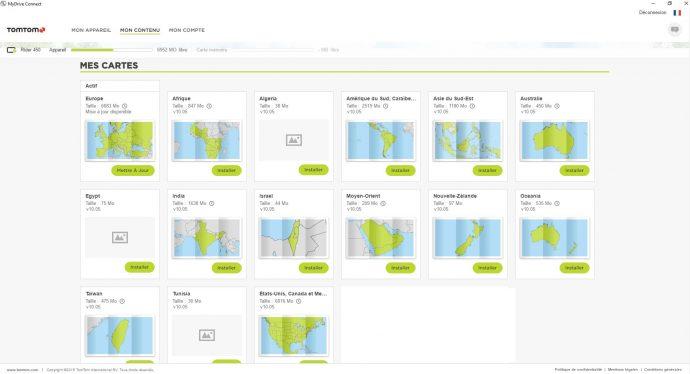 """Les différentes cartes installables sur le GPS, dans le logiciel """"MyDrive Connect"""""""