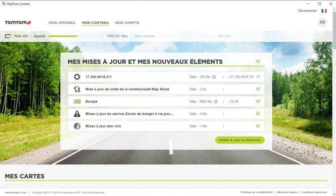 Liste des mises à jour dans le logiciel MyDrive Connect