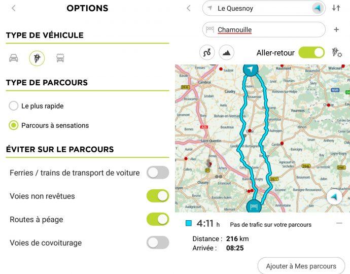 Que ce soit sur ordinateur ou smartphone, le Rider 450 dispose d'une solution complète de planification de trajets et de partage