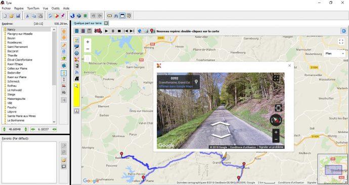 Tyre Pro utilise la cartographie Google Maps et dispose du streetview intégré au logiciel