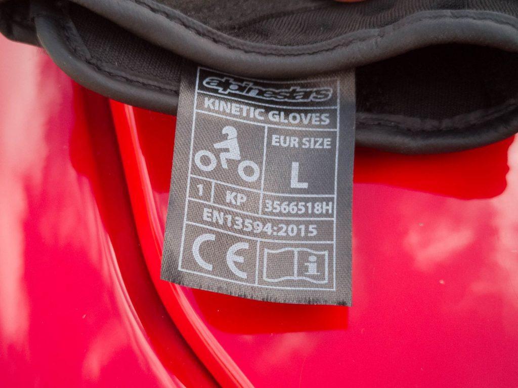 Gants Alpinestars Kinetic, homologués selon la norme CE EN13594:2015
