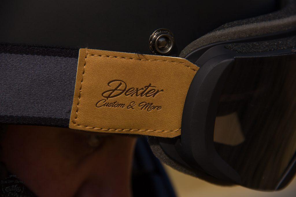 Attache en cuir cuir sur le masque Dexter BINOCLE et le casque Dexter Marty