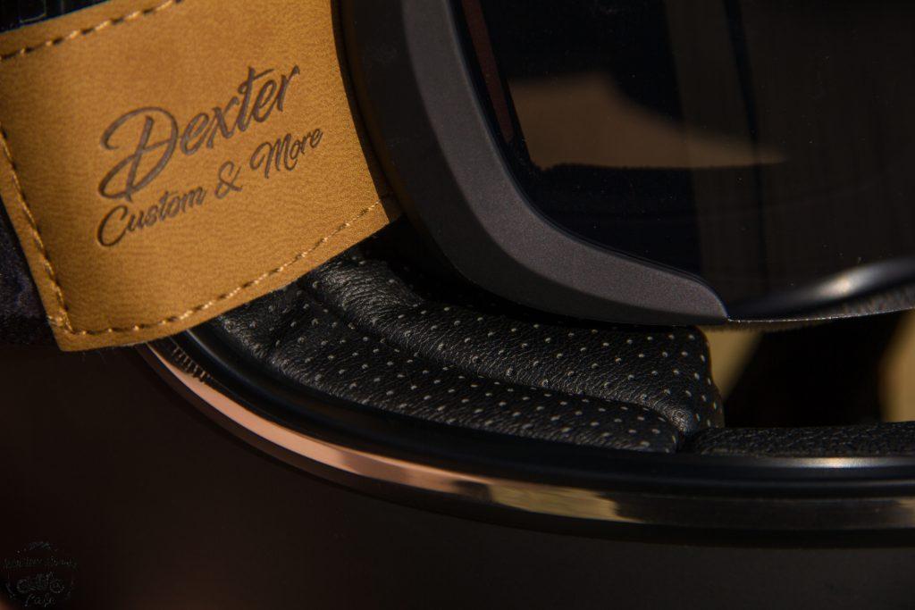 L'intérieur du casque Dexter Marty en cuir micro-perforé