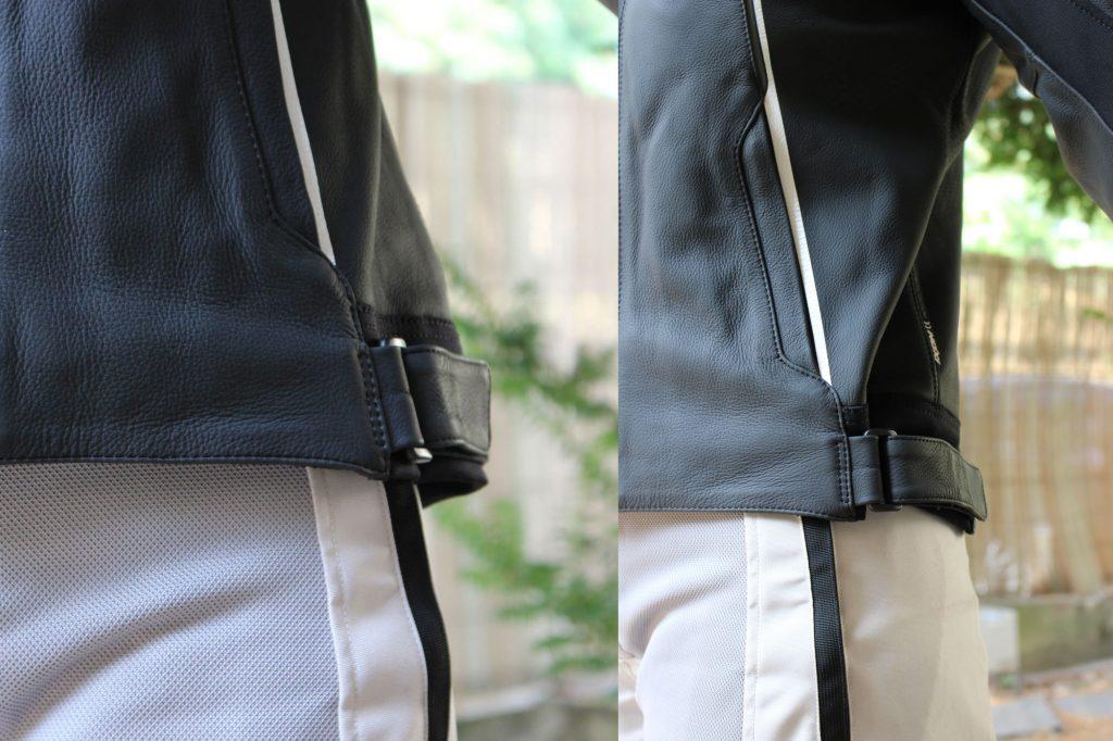 Vous pouvez resserrer le blouson Ixon Trinity sur vos hanches grâce à des pattes de serrage à scratch