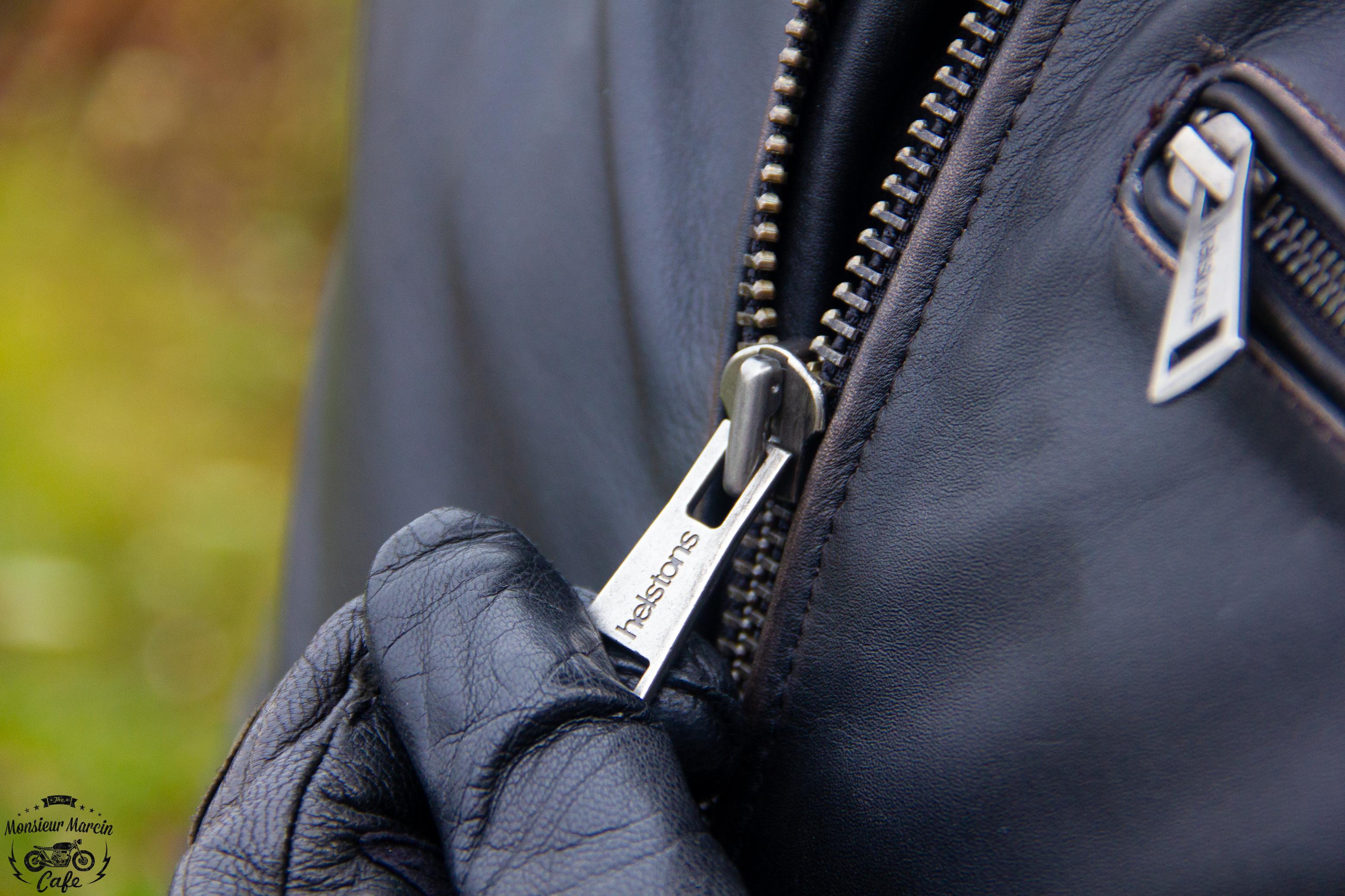 Fermeture par zip pour le blouson cuir Helstons Yukon