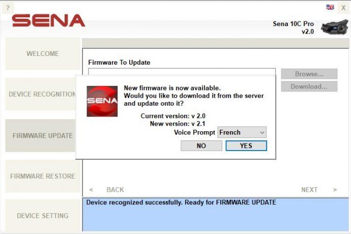 Il faut passer par le logiciel Sena Device Manager pour procéder aux mises à jour du firmware du 10C Pro