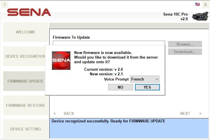 Sena 10C Pro – Mise à jour firmware