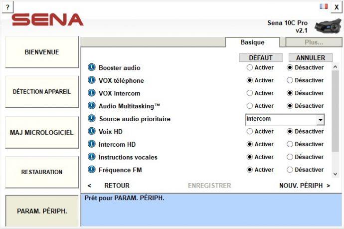 En cas de besoin, les réglages de l'intercom sont également accessibles dans Sena Device Manager