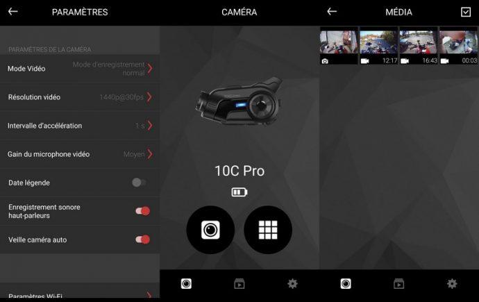 L'application Sena Caméra sur smartphone (iOS et Android) permet de modifier les différents paramètres de la caméra et de consulter les fichiers présents sur la carte SD