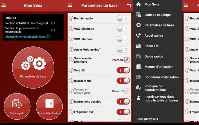 L'application Sena Utility, qui permet de procéder aux réglages de la partie communicateur