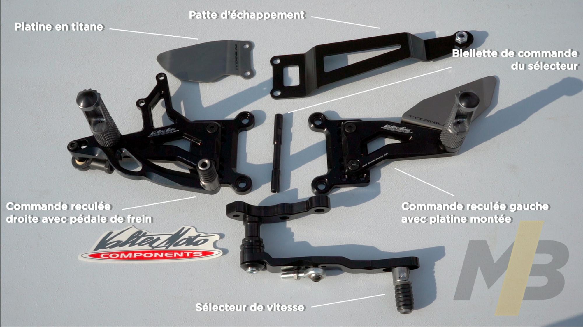 Commandes reculées Valter Moto : Le contenu du kit