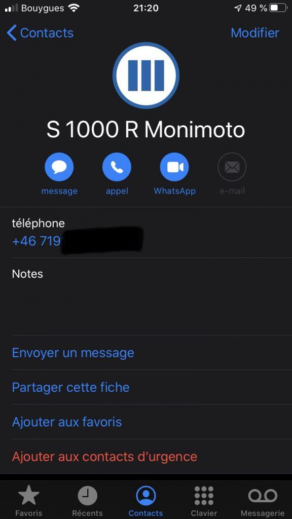 Tracker GPS Monimoto – Ajoutez le numéro dans vos contacts