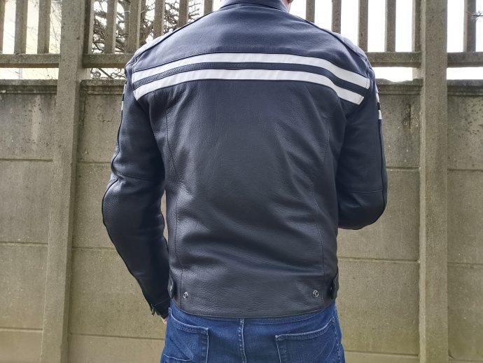 Blouson de cuir segura retro de dos