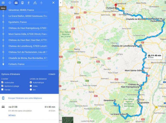 exemple d'itinéraire pour préparer un road trip moto