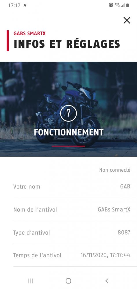 interface de l'application Abus SmartX