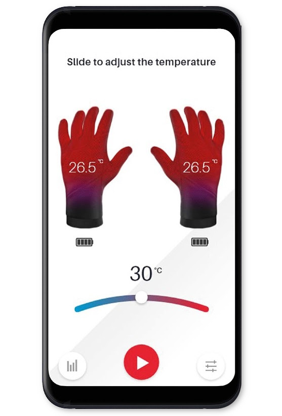 Appli gants moto chauffants intelligents