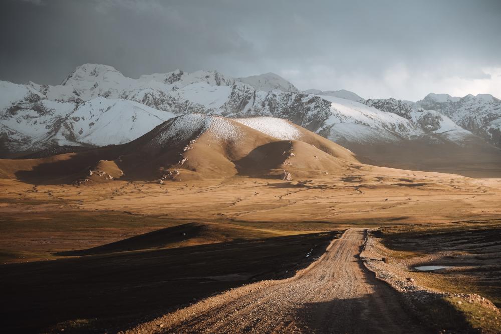 paysages au milieu du Kirghizistan