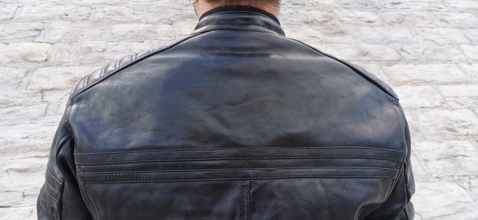 dos du blouson en cuir DXR Legend Full Black