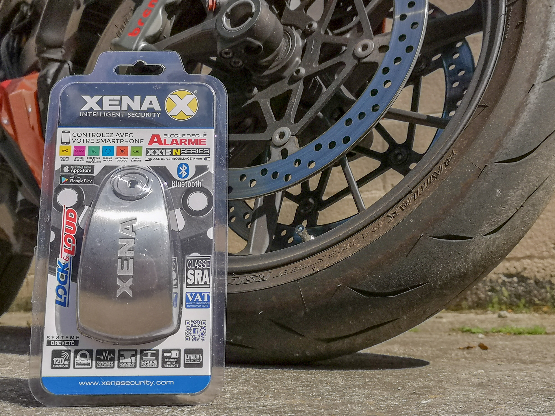 essai de l'antivol bloque disque Xena avec alarme SRA XX15