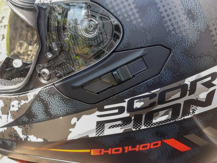 commande de l'écran solaire du casque scorpion Exo-1400 Air