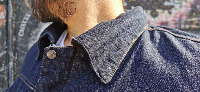 col avec boutons pression sur veste DXR Denim Blouz